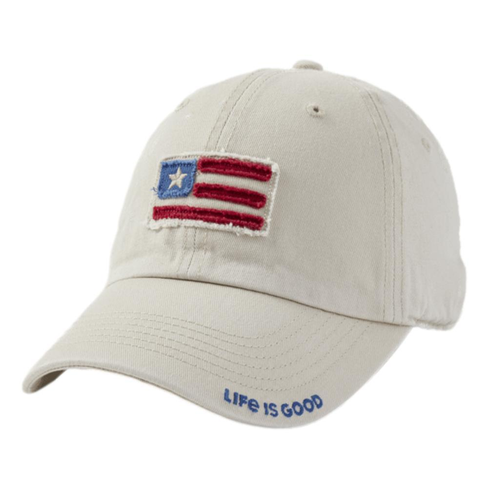 Life is Good American Flag Tattered Chill Cap BONE