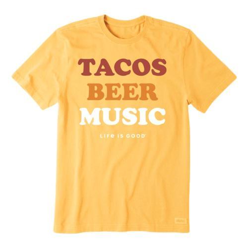 Life is Good Men's Tacos, Beer, Music Crusher Tee Bajayellow