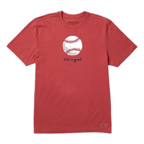 Life is Good Men's Baseball Vintage Crusher Tee Fadedred