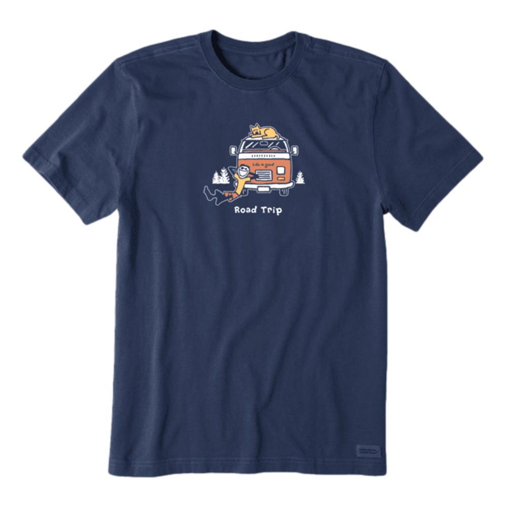 Life is Good Men's Jake and Rocket Road Trip Vintage Crusher Tee DARKESTBLU
