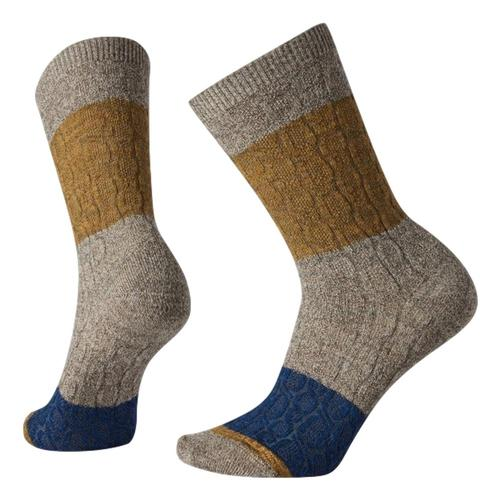 Smartwool Women's Color Block Cable Crew Socks Taupe_236