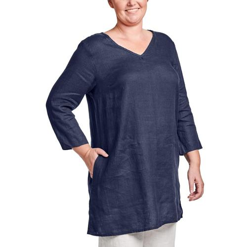 FLAX Women's Long & Easy Pull Top Navy