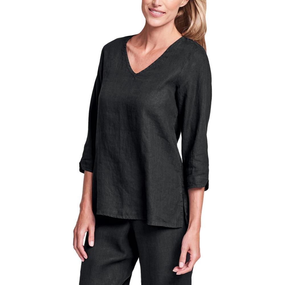 FLAX Women's V Pullover Shirt BLACK