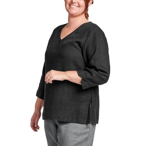 FLAX Women's Generous V Pullover Black