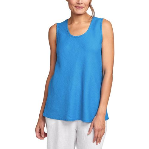 FLAX Women's Sleeveless Bias Top Azure