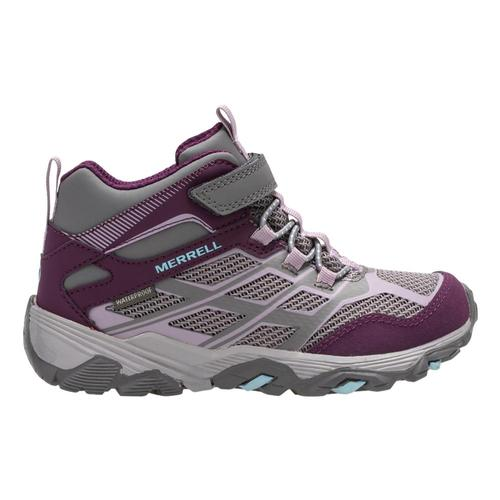 Merrell Kids Moab Mid Waterproof Hiking Boots Charpurp