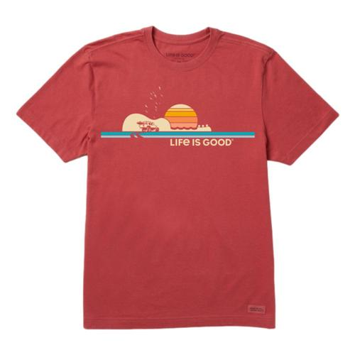 Life is Good Men's Beach Music Stripes Crusher Tee Fadedred