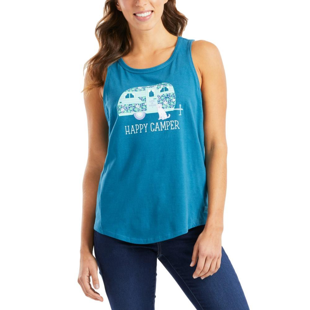 Life is Good Women's Floral Happy Camper High-Low Crusher Tank PERSIANBLU
