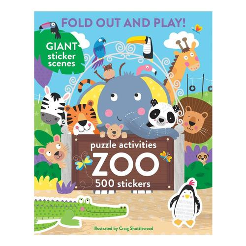 Fold Out and Play Zoo: 500 Stickers and Puzzle Activities