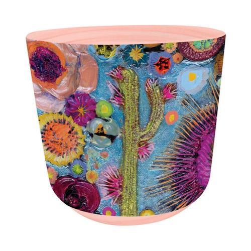 Greenbox Art Blooms On Cerulean Blue Plant Pot
