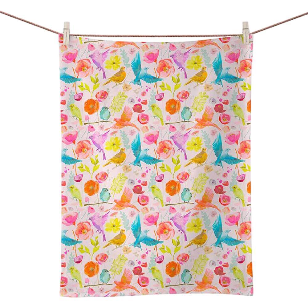 Greenbox Art Lovebirds Aflight Tea Towel