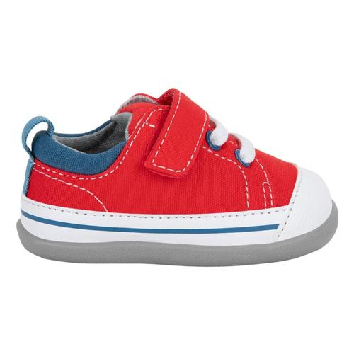 See Kai Run Toddlers Stevie (First Walker) Red/Blue Denim Shoes Red