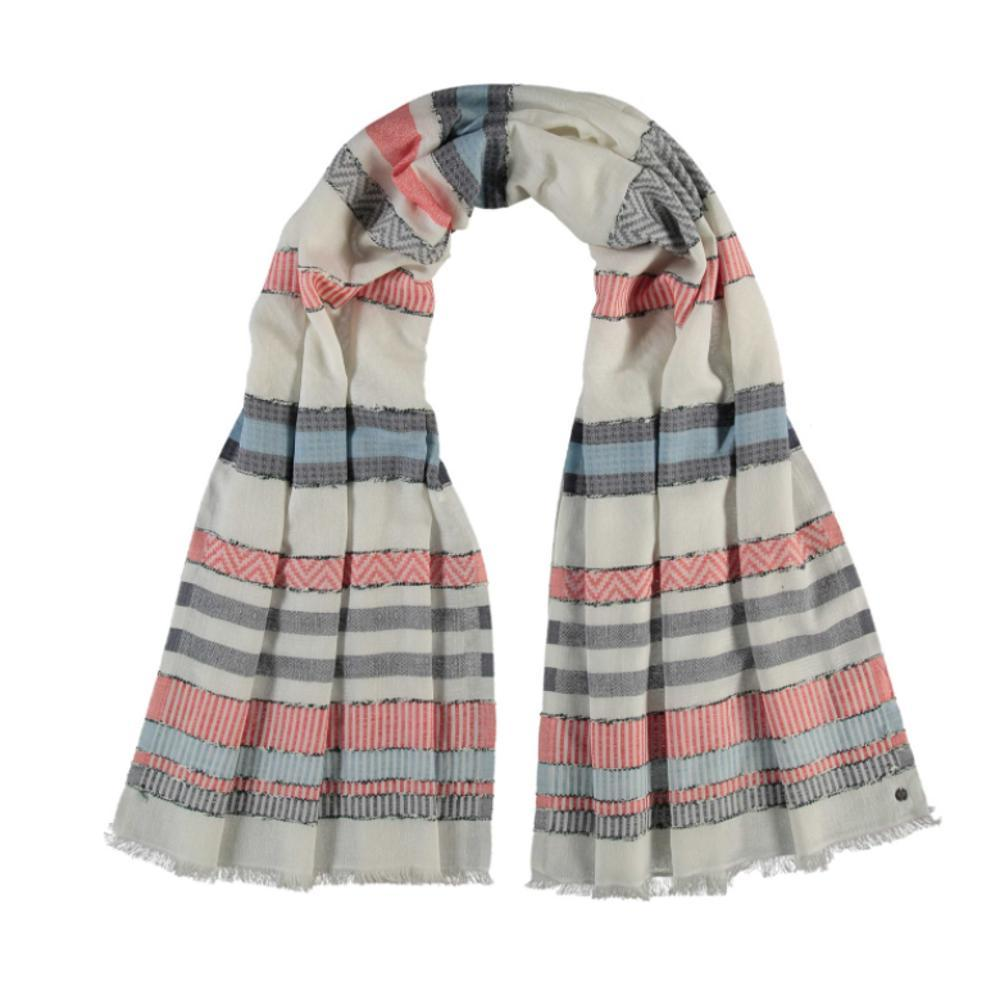 V. Fraas Sustainability Edition Textured Stripe Organic Cotton Scarf CLRED_360