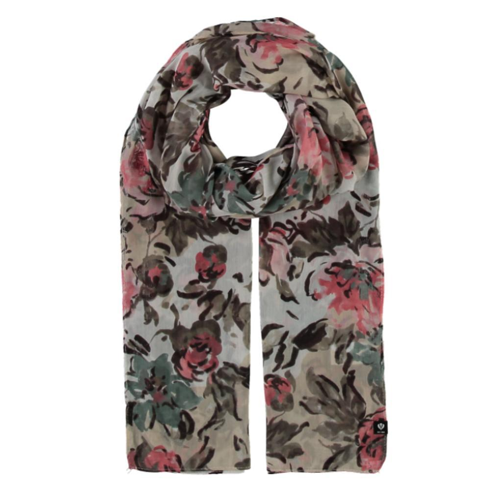 V. Fraas Floral Bouquet Polyester Printed Scarf CREAM_030