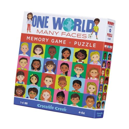 Crocodile Creek Puzzle + Memory Game 48pc - One World, Many Faces