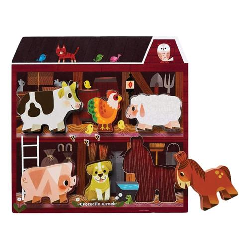 Crocodile Creek Let's Play Wooden Puzzle + Playset 6pc  - On The Farm