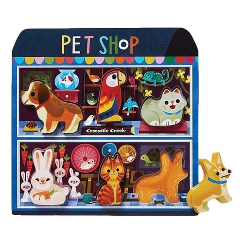 Crocodile Creek Let's Play Wooden Puzzle + Playset 6pc - Pet Shop
