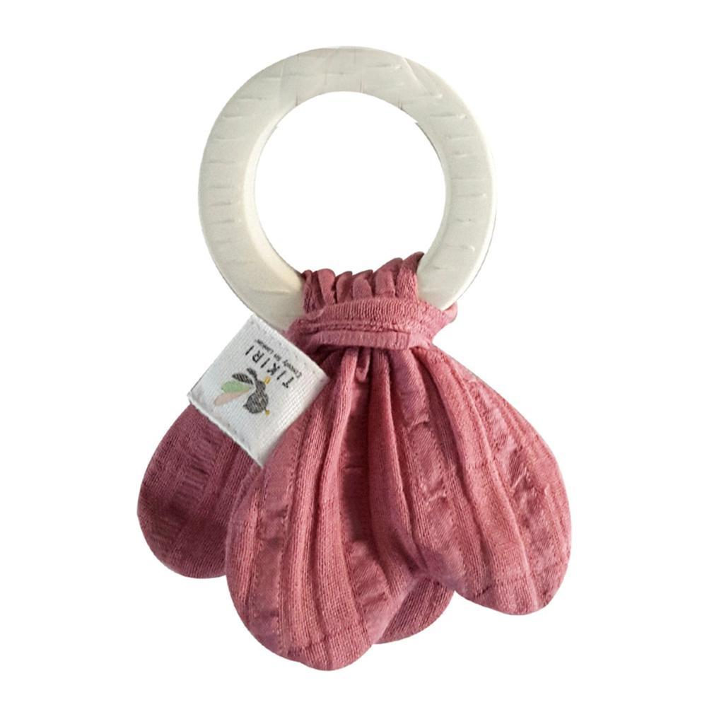 Tikiri Organic Natural Rubber Teething Ring - With Dusty Rose Muslin Tie