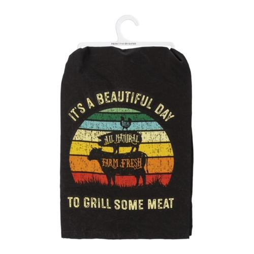 Primitives by Kathy Dish Towel - A Beautiful Day To Grill Some Meat