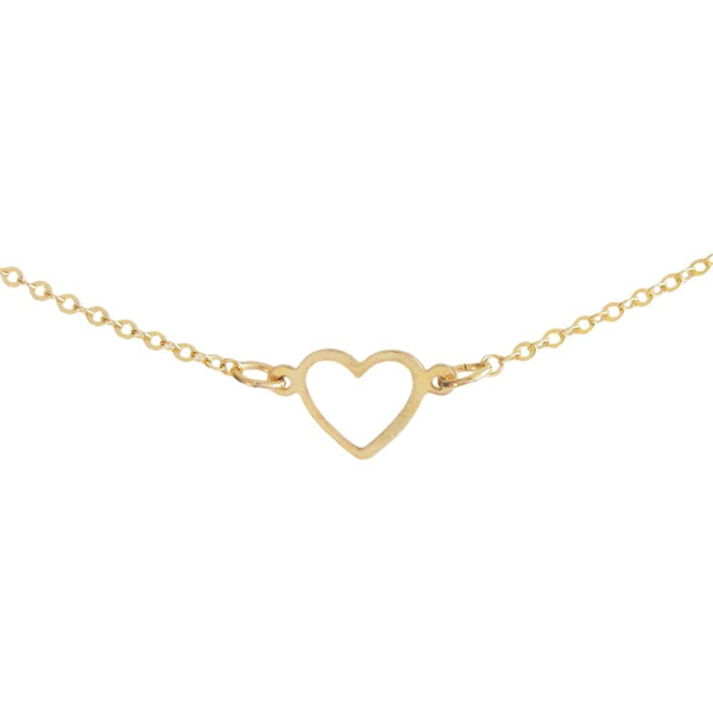 Ornamental Things Tiny Open Heart Necklace BRASS