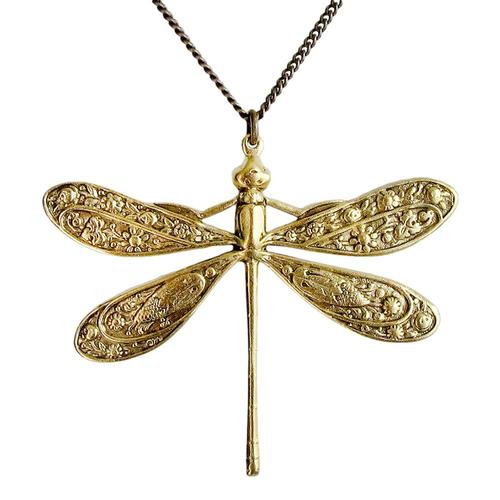Ornamental Things Golden Dragonfly Necklace Brass