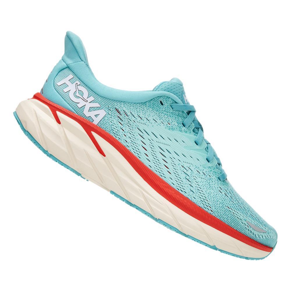 Hoka One One Women's Clifton 8 Running Shoes - Wide AQUAR.EBLU_AEBL