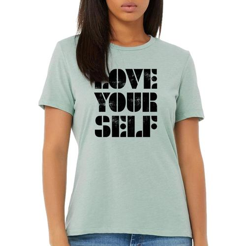 Gusto Tees Women's Love Yourself Relaxed T-shirt Dustyblue