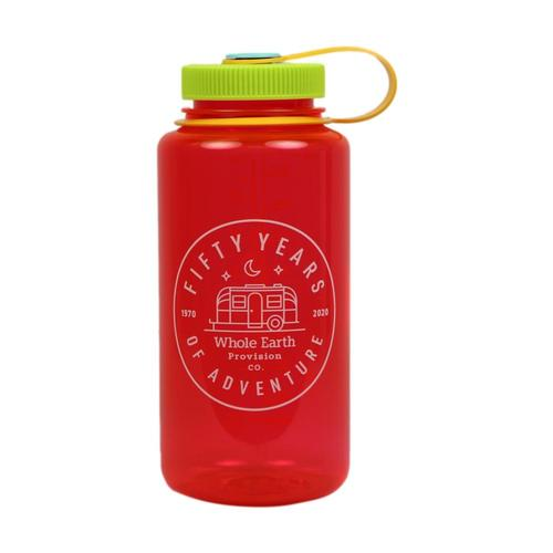 Whole Earth 50th Anniversary Logo - Camp Trailer Nalgene Wide Mouth Sustain Water Bottle - 32oz