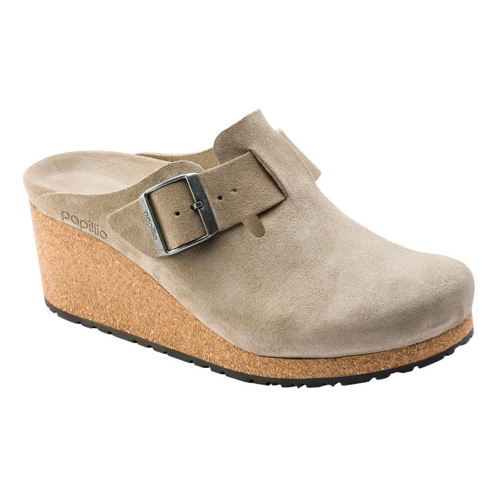 Birkenstock Women's Papillio Fanny Suede Leather Clogs - Narrow TAUPE.SD