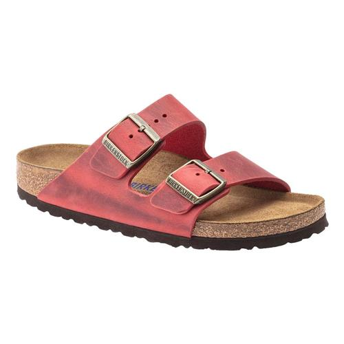 Birkenstock Women's Arizona Soft Footbed Oiled Leather Sandals - Narrow Firered.Ol