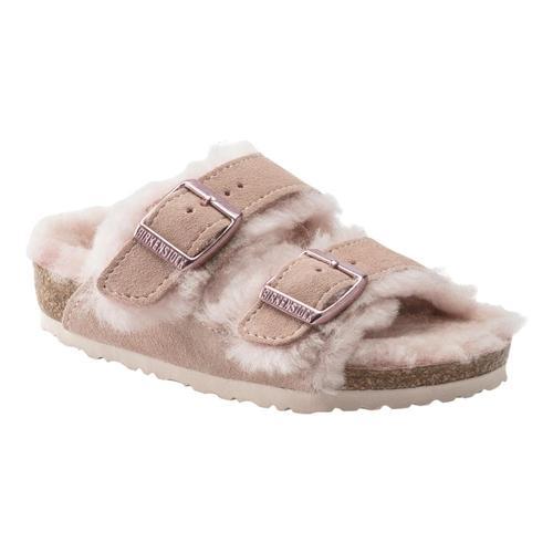 Birkenstock Kids Arizona Shearling Suede Leather Sandals - Narrow Lightrose