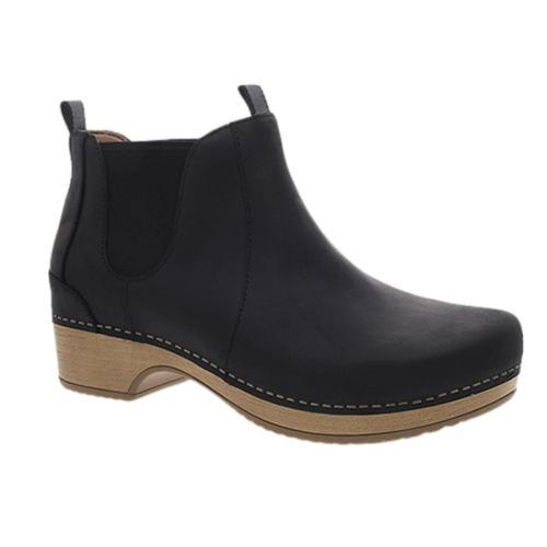 Dansko Women's Becka Oiled Pull Up Boots Blk.Olplp