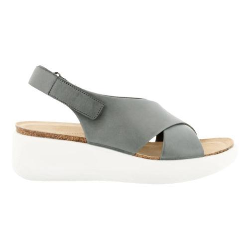 ECCO Women's Flowt Wedge Cork Sandals Titanium_01244