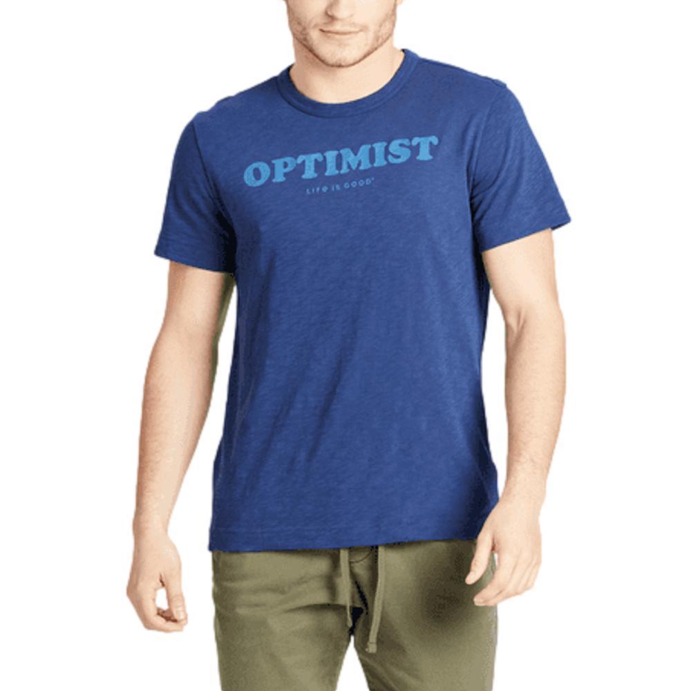 Life is Good Men's Optimist Typography Textured Slub Tee DARKSTBLUE