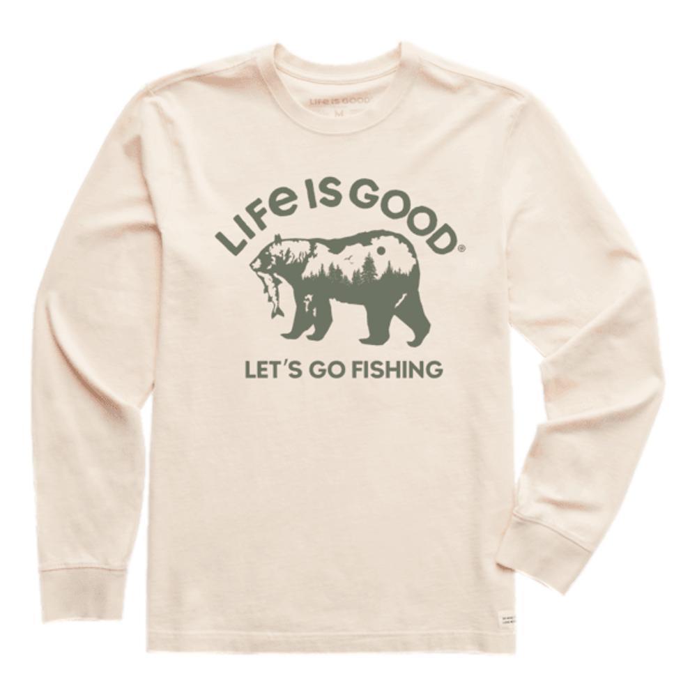 Life is Good Men's Let's Go Fishing Bear Crusher-Lite Long Sleeve Tee PUTTYWHITE