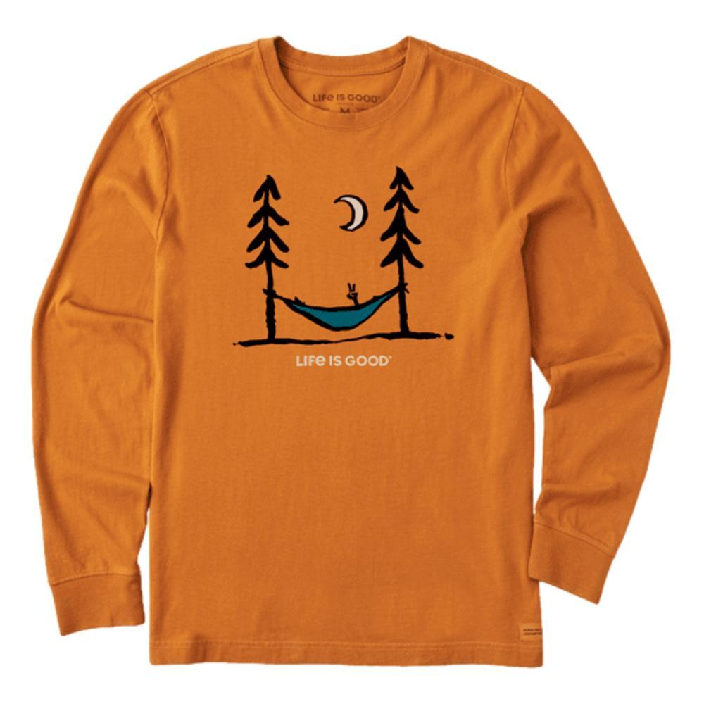 Life is Good Men's Peace Out Crusher-Lite Long Sleeve Tee COFFEEBRWN