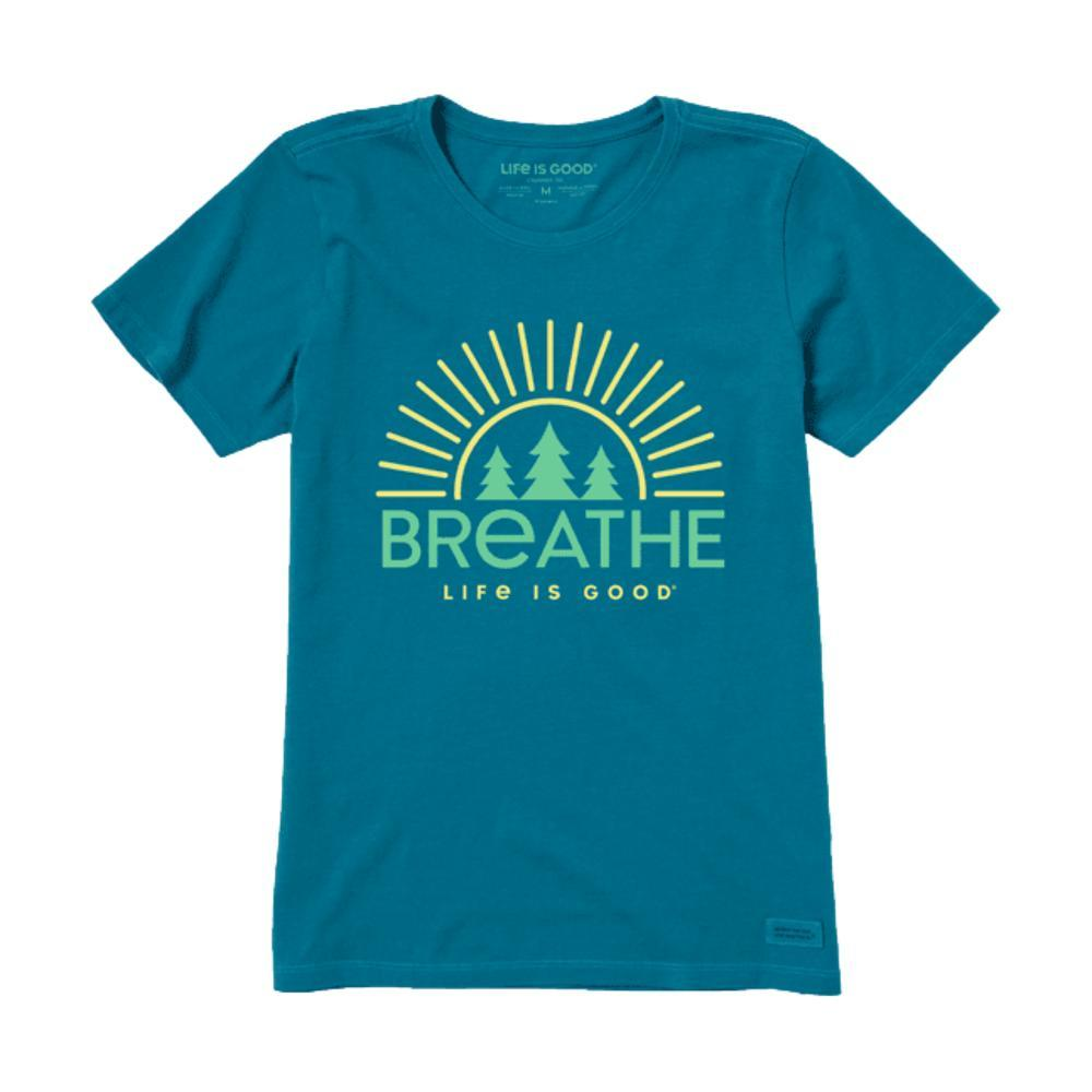 Life is Good Women's Breathe Forest Trees Crusher-Lite Crew PERSIANBLU