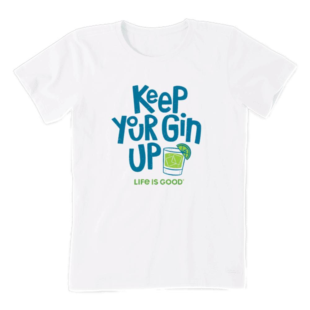 Life is Good Women's Keep Your Gin Up Crusher-Lite Crew CLOUDWHITE