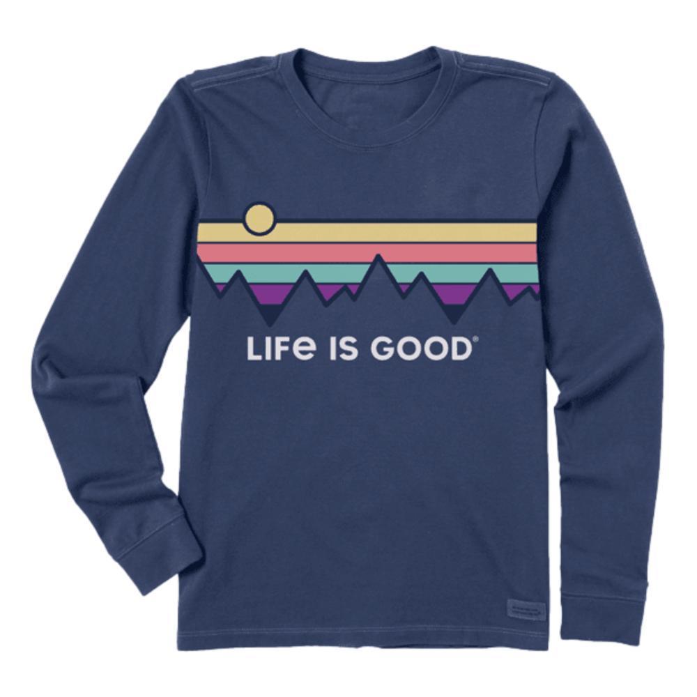 Life is Good Women's Retro Mountain Stripe Long Sleeve Crusher Tee DARKSTBLUE