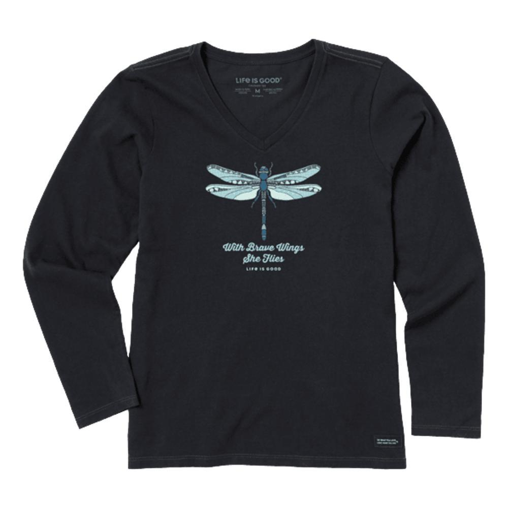 Life is Good Women's Detailed Dragonfly Crusher-Lite Long Sleeve Vee JETBLACK