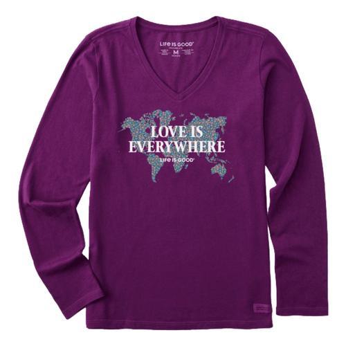 Life is Good Women's Love Is Everywhere Map Crusher-Lite Long Sleeve Vee Purplehaze