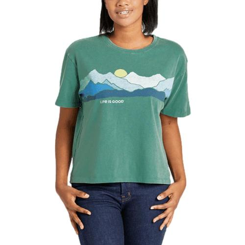 Life is Good Women's Life Isn't Perfect Mountains Boxy Crusher Tee Sprucegrn