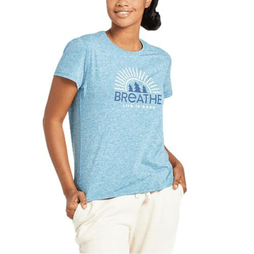 Life is Good Women's Breathe Forest Trees Active Tee Persianblu