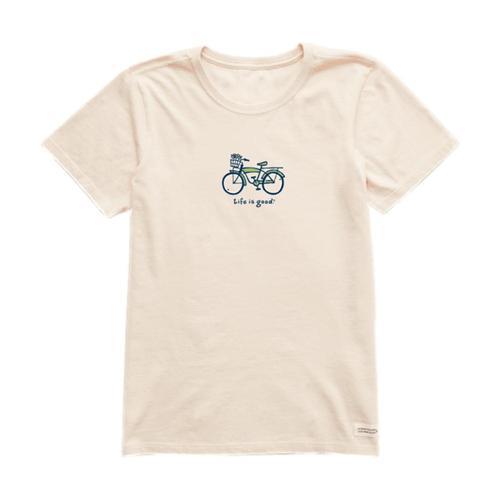 Life is Good Women's Cruiser Bike Vintage Crusher Tee Puttywhite