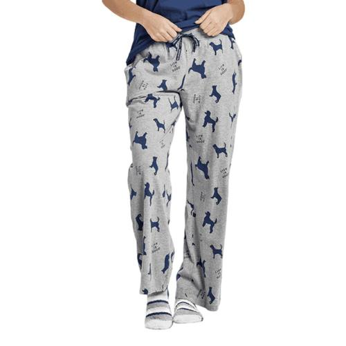 Life is Good Women's Silhouette Dog Print Snuggle Up Sleep Pants Heathrgrey