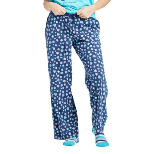 Life is Good Women's Floral Element Print Snuggle Up Sleep Pants Darkstblue
