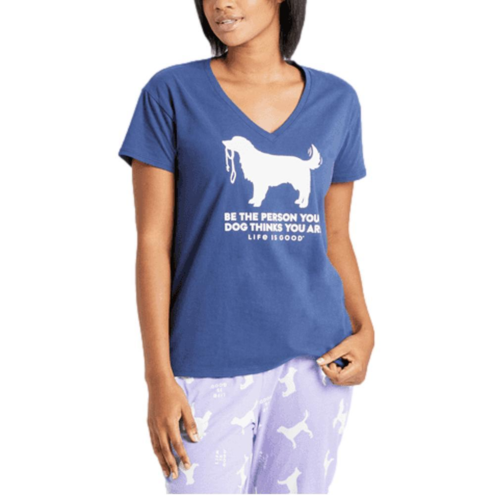 Life is Good Women's Be The Person Retriever Snuggle Up Relaxed Sleep Vee DARKSTBLUE