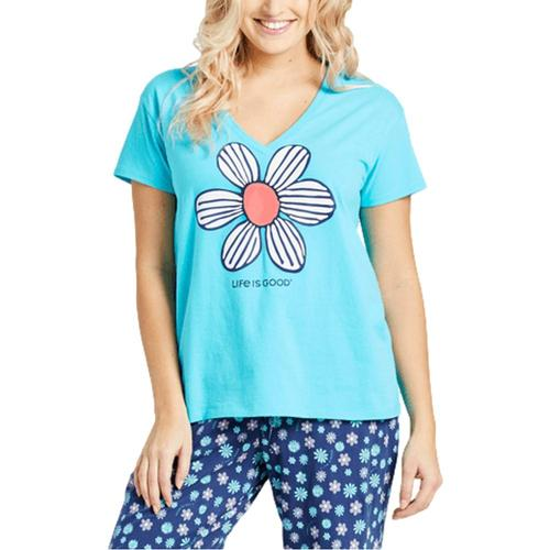 Life is Good Women's Floral Element Snuggle Up Relaxed Sleep Vee Islandblue