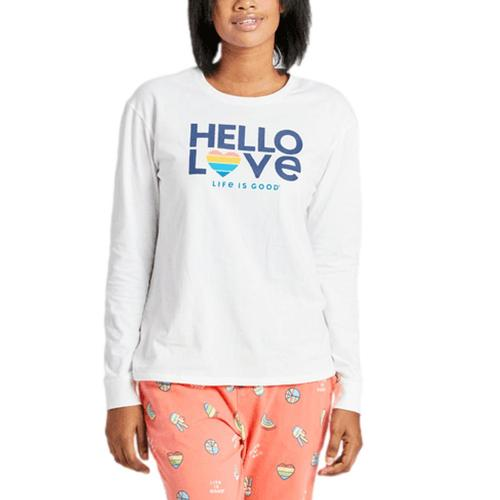 Life is Good Women's Hello Love LIG Long Sleeve Snuggle Up Sleep Tee Cloudwhite