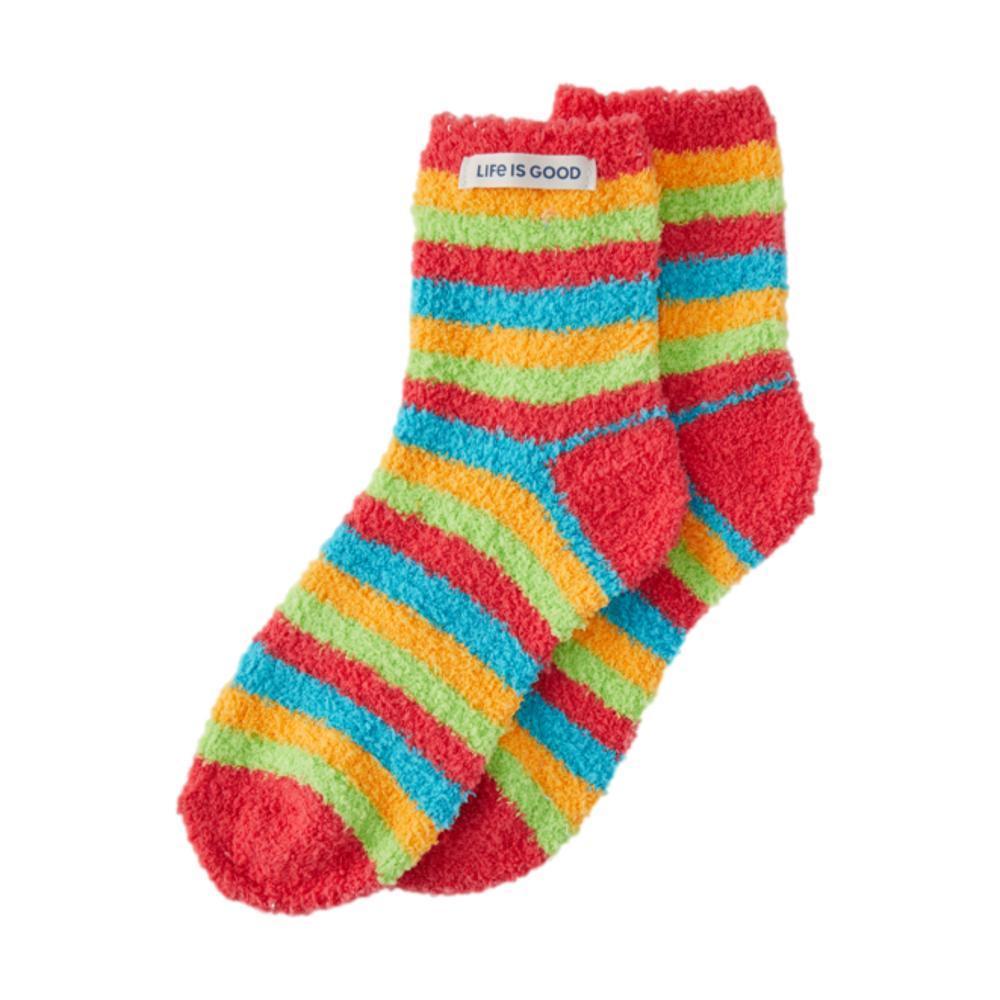 Life is Good Rainbow Stripes Snuggle Socks ISLANDBLUE